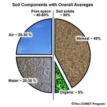 What is soil? Soil contains solids and pore space. Solids include minerals and organic matter. Pore space is filled with water, air, or a fraction of each.