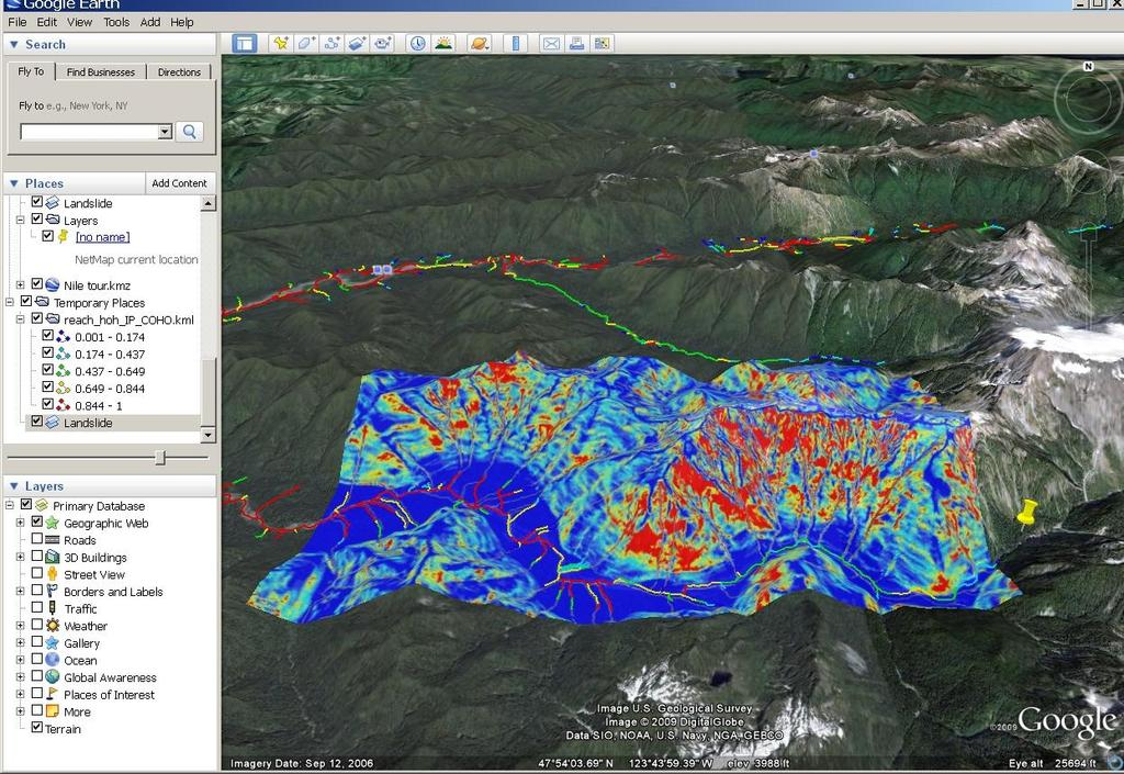Predict shallow landslide potential, export to Google Earth, and