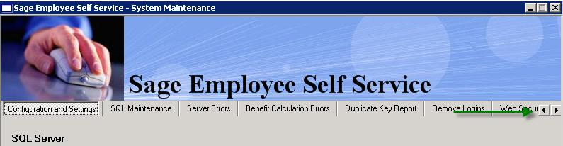 SQL Server If you are using SQL Server Express Edition as your Sage Employee Self Service database, do not change any of the information in the SQL Server section.