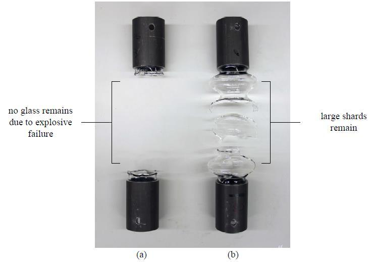 Mechanical testing of glass bellows (a) Failure in compression -1.91kN / -0.54mm (b) Failure in tension 4kN / 1.