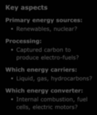 Which energy carriers: Liquid, gas, hydrocarbons? ++ Which energy converter: Internal combustion, fuel cells, electric motors?