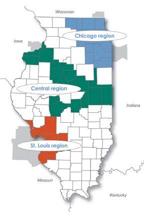 Illinois Major Metro Regions Illinois Economy Is Urban Largely unnoticed, Illinois population and its productive capacity have through market forces self-organized into metropolitan regions.