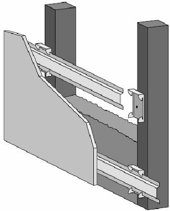 Locate the first row of RSIC-V clips within 3 inches from the floor and within 6 inches from the ceiling. Snap in the drywall furring channel (hat track) into the RSIC-V clips (horizontal for walls).