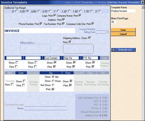 i) Invoice Template Overview (a) Add New Template click here to add new Invoice Templates.