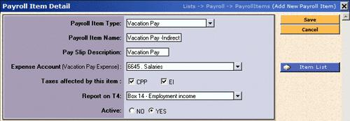 (b) Payroll Item Name enter a Payroll Item name for this Taxable Benefit, recommended maximum of 15 alpha/numeric characters.