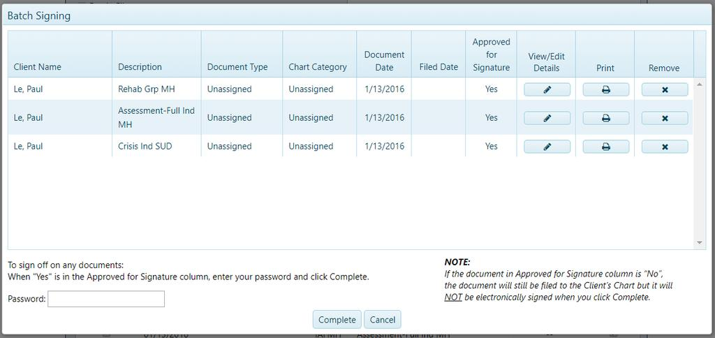 After selecting the Complete and Sign Off button, the user is presented with a summary of the filing details and sign off information.