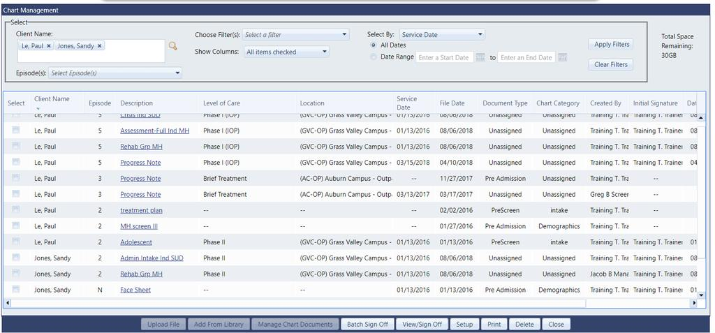 Multiple Client View in Chart Management: Now users can view multiple clients at one time in Chart Management.