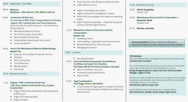 Maintenance Reserves Seminar 2019 This event will cover in-depth all aspects of maintenance reserves, what you need to know and how to put it into practice.