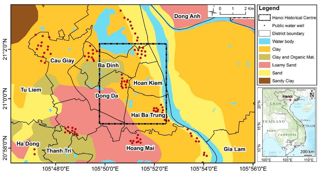 tectonic or fault in the study area, hence the deformation mostly depends on human activity. Hanoi has distinct four seasons annually and has complicated atmospheric condition along with the geology.