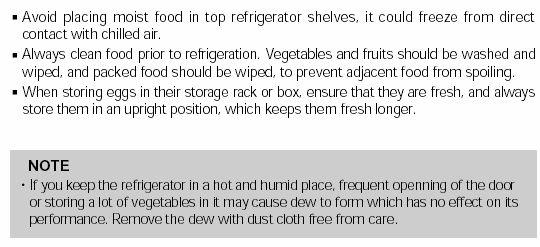 Temperature Moisture buildup Symptom Cause Answer 1.The food may not be packaged correctly.