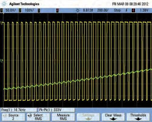 Scope output waveforms at full speed Scope1 (200μs/div) These two scope grabs show the output waveforms with the Motor Speed Controller set at full speed (ie, 50Hz).