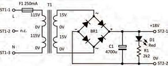 Underside view Fig.2.18. Circuit of the 18V 0.5A raw DC supply.