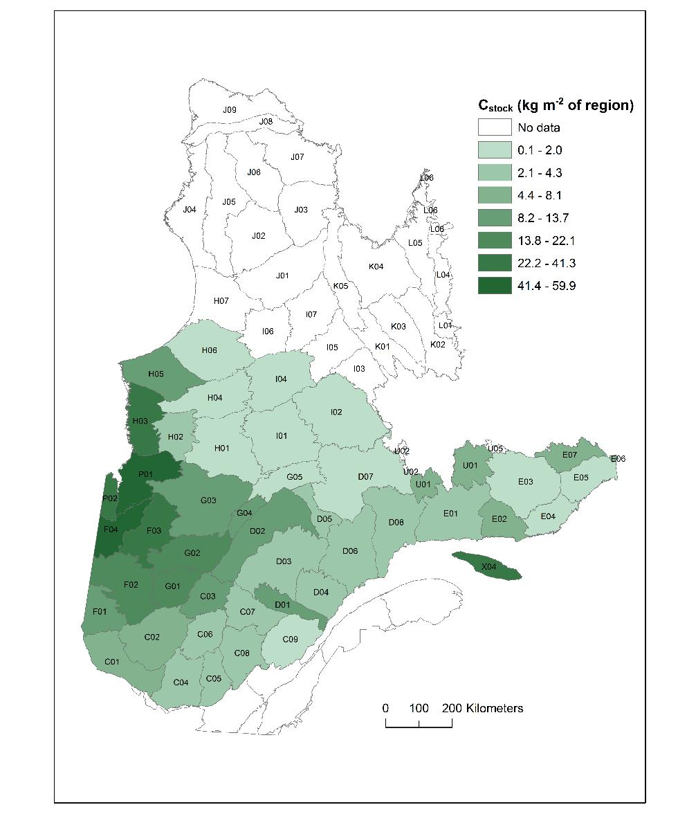 Mineral horizon C stock is highest in the eastern and southern parts of the province, while organic horizon C stock generally increase with latitude and the presence of closed black spruce stands,