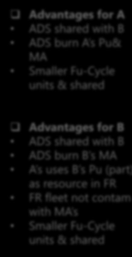 shared Pu MOX Fabrication UOX Fabrication Enriched U PWR MOX PWR UOX Spent fuel B GROUP B Scenario 1 objective: elimination of A s spent fuel by 2100 A = Countries Phasing