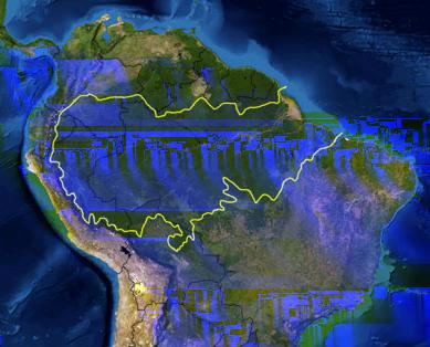 Figure 1: Map of the Amazon rainforest. The Amazon rainforest, shown in Figure 1, covers around 530 million hectares of land (Soares-Filho et al.