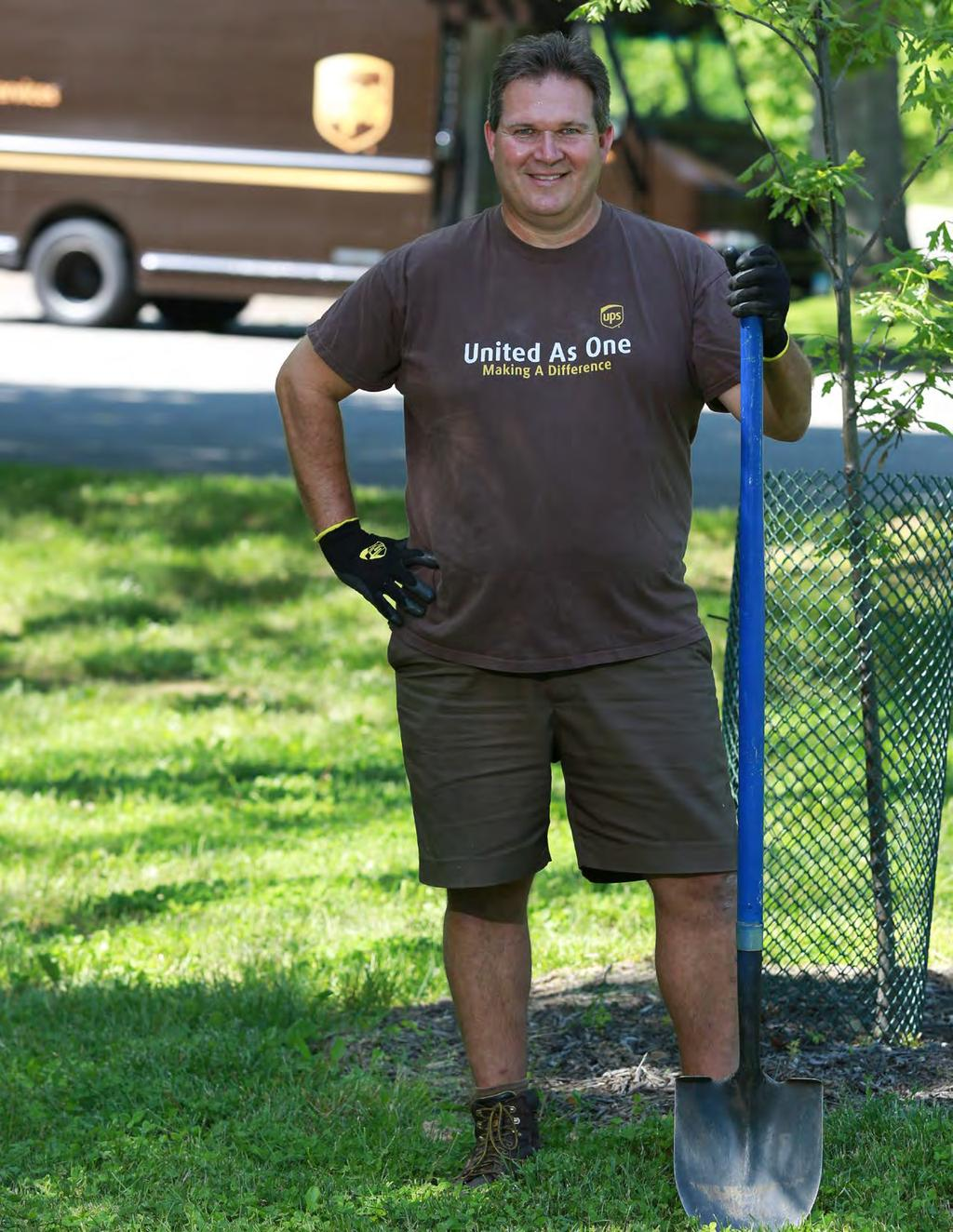 Approach & Engagement COMMITTED TO MORE Greg Schneider As a UPS Volunteer Coordinator, package car driver Greg Schneider not only plants trees each fall, but also plants seeds of enthusiasm for