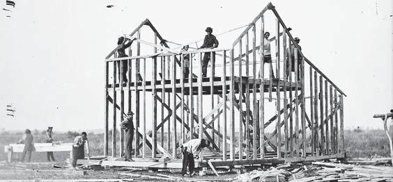 Figure 2.15 Balloon Frame building. 1907 FRAME. This system is an element-based system composed mainly by linear building elements such as columns and beams that form a structural skeleton.