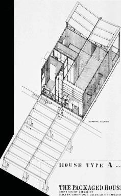 These studies (of Gropius) in prefabrication demonstrate a theme, a clearly defi ned pattern. The emerging theme embraces a trilogy.