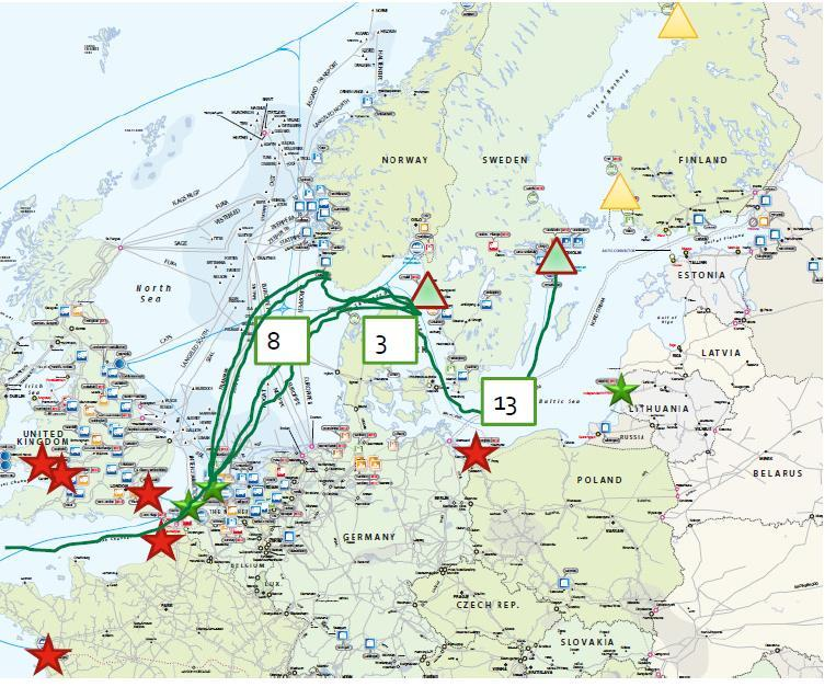 Short sea transport of LNG: available Example of reach of shortsea with figures in/out of Rotterdam in 2013/14. Stars indicate large scale import terminals.