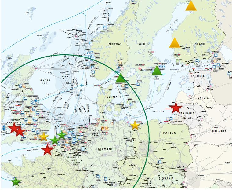 LNG by truck over Europe: available Reach of truckloadings out of Rotterdam and Zeebrugge. Stars indicate large scale import terminals.