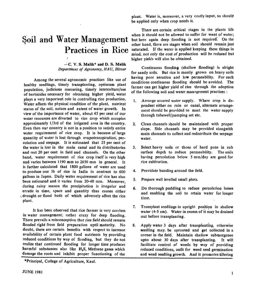 $oil and Water Management Practices in Rice I...:.c. V. S.