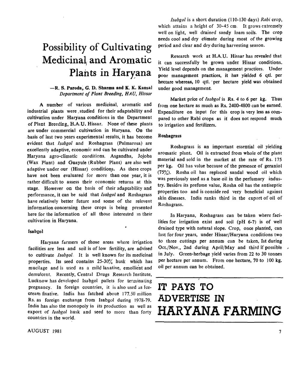 Possibility of Cultivating Medicinal, and Aromatic Plants in Haryana -R. S. Paroda~ G. D. Sharma and K.