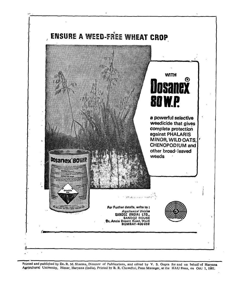 :, Ii[ ) ENSURE A WEED-fREIE WHEAT CROP WITH Do sand BOWP.