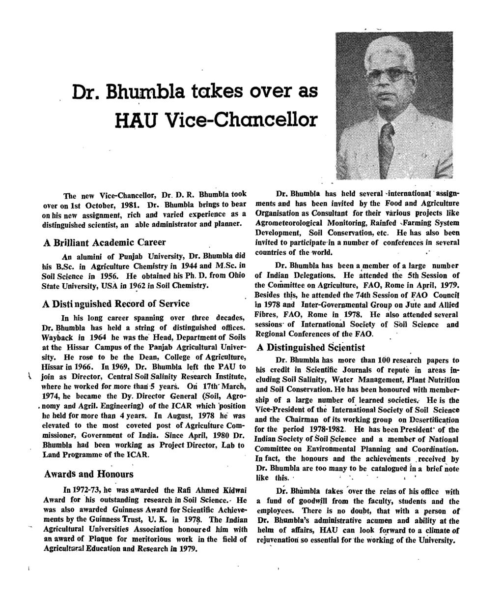 Dr. Bhumbla takes over as HAU Vice-Chancellor The new Vice-Chancellor, Dr,