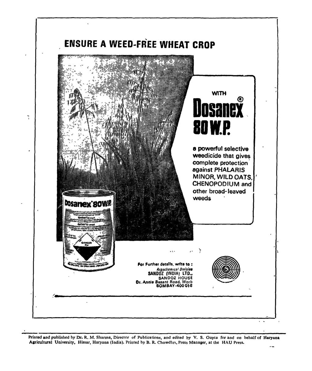 "ENSURE A WEED-FREE WHEAT CROP WITH Dosand BOI.P. 8 powerful selective weedicide that gives I complete protection against PHALAAIS MINOA, WILD OATS. I CHENOPOD IUM and other broad-leaved weeds I "" (."