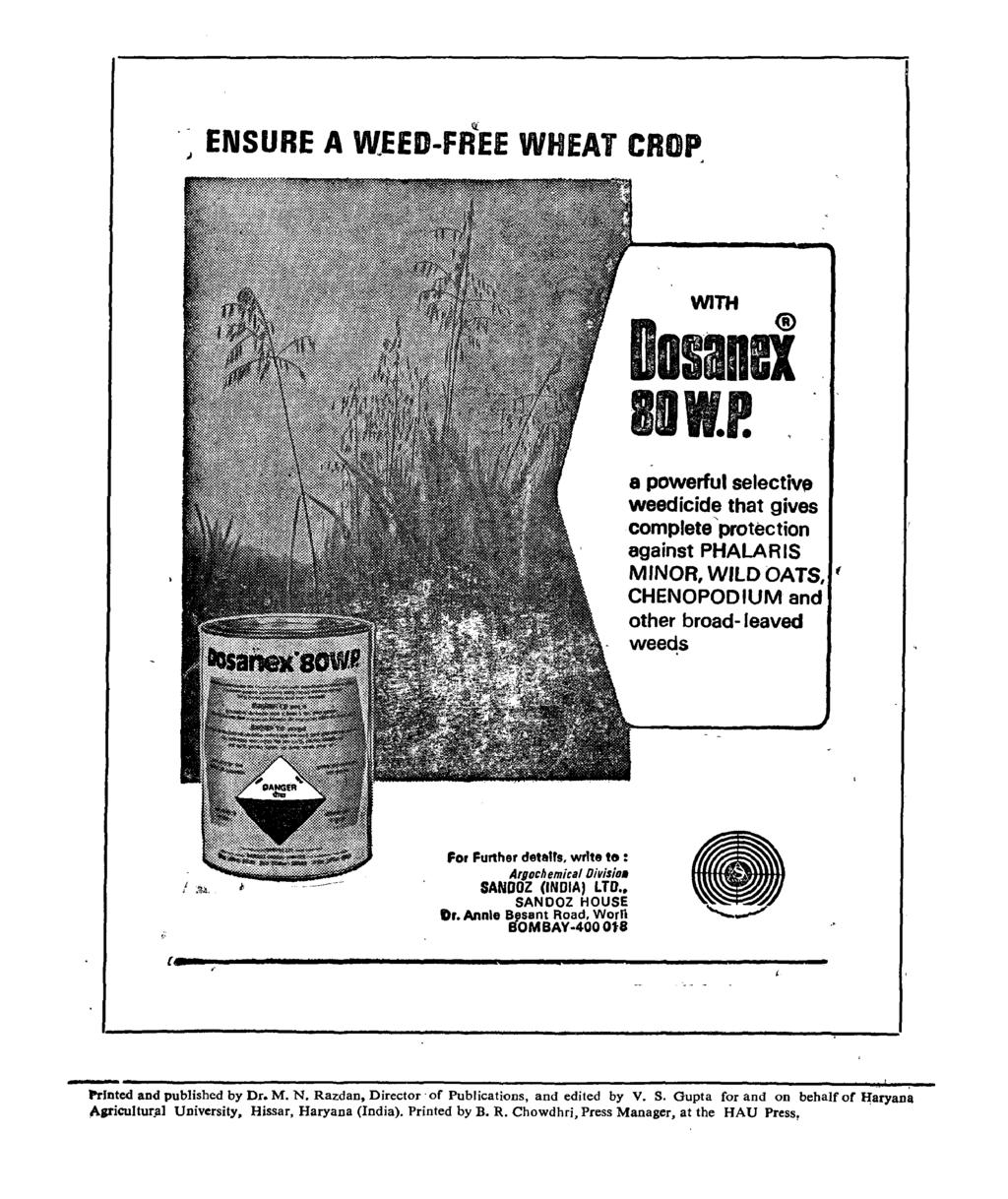 "J ENSURE A WEED-fREE WHEAT CROP Ii: WITH DosanBi BOw.P. a powerful selectiv, weedicide that gives complete 'protection against PHALARIS MINOR, WILD OATS, ( CHENOPODIUM and other broad- leaved weeds For Further deta""!"