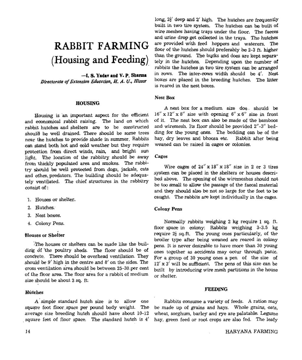 RABBIT FARMING (Housing and Feeding). -I. s. Yadaf and V. P. Sharma Directorate of Extension Education, H. A. U.