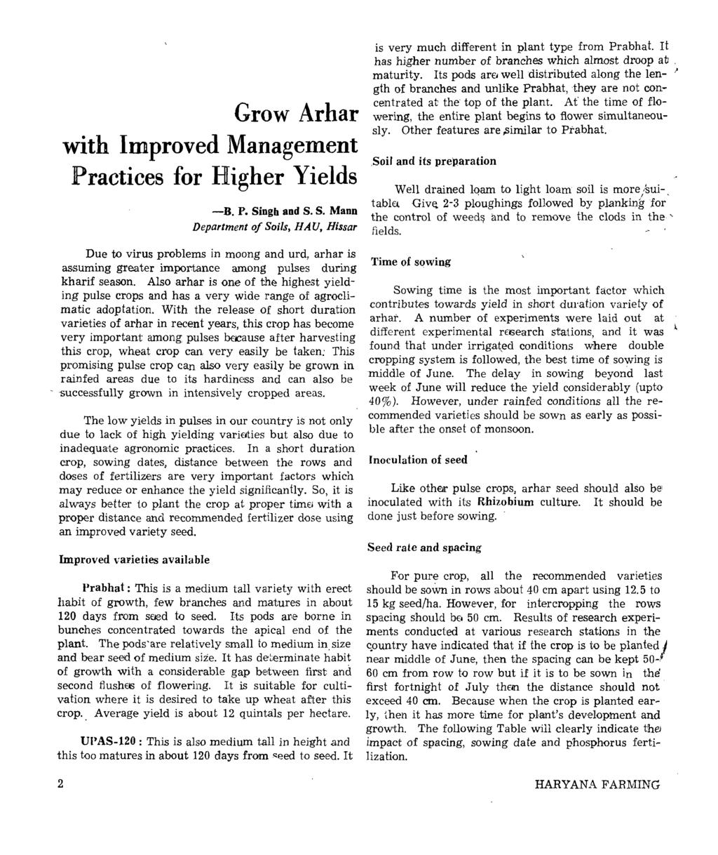 Grow Arhar with Improved Management Practices for Higher Yields -D. P. Si