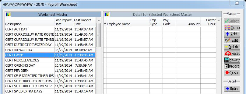 payroll worksheet quick add data retention pac configuration setup