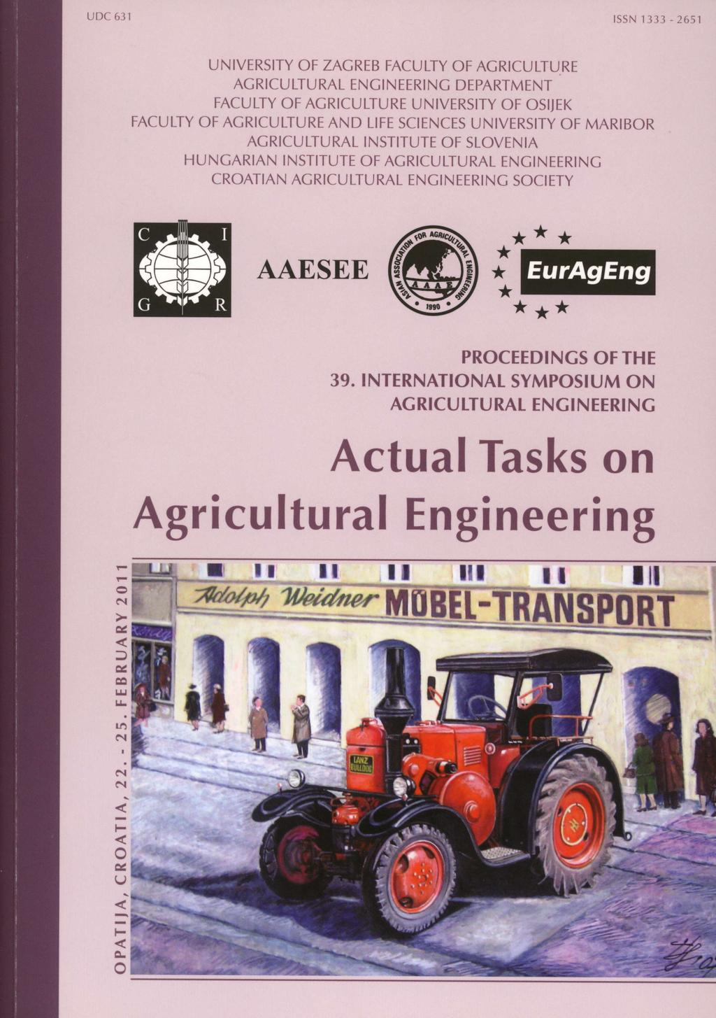 T Actual Tasks On Agricu Ltural Engineering Proceedings Of The 39 With An External Amplifier You Need To Supply A Speakers Sp2003 Transcription