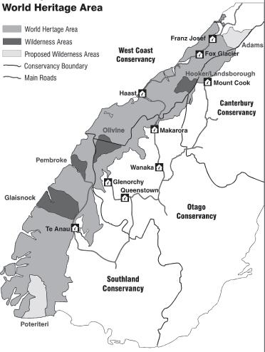 Legislation World Heritage Area Visitor Strategy Four conservation management strategies Wilderness policy Management plans for: Figure 3 Conservation Visitor Centres and access to Te Wahipounamu