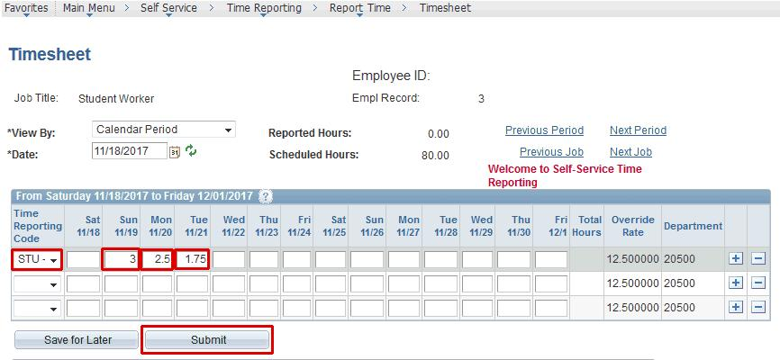 employee self service time and labor entering your timesheet online