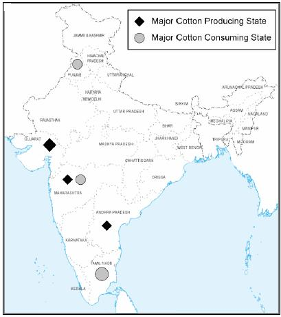 "...contd. The Indian textile industry is composed of two sectors. The ""organized"" sector (large-scale spinning units and composite mills); produces 95% of yarn."