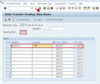Stock Transfer from a plant to another plant in SAP Intra