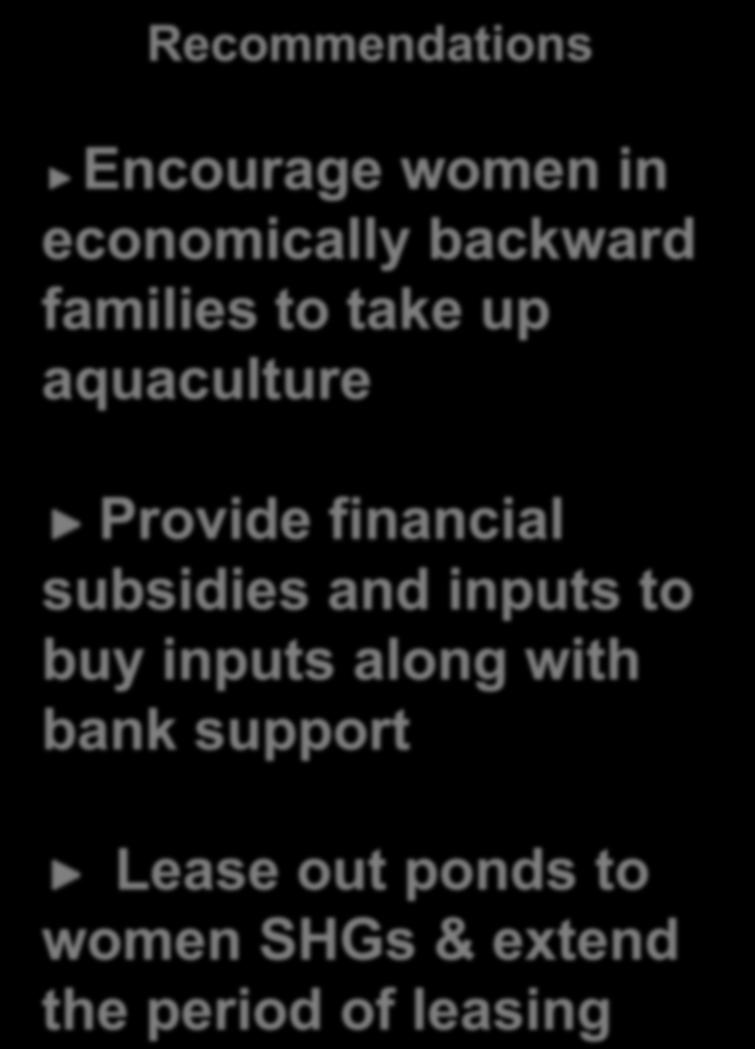 the needful Recommendations Encourage women in economically backward families to take up aquaculture Provide