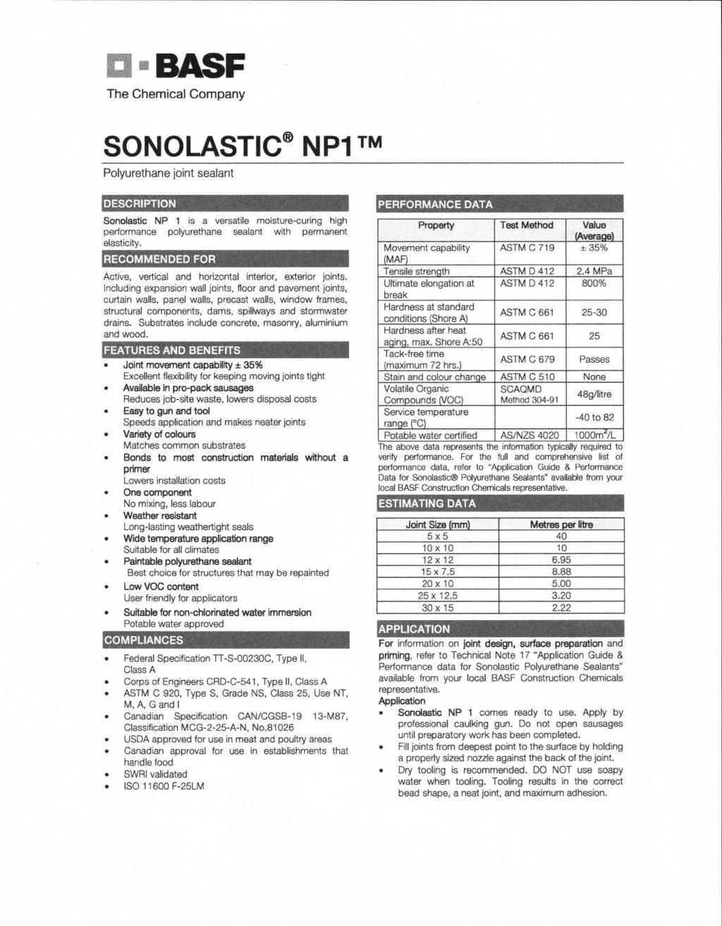Building Efficiency Services With Potential Benefit To D300 Pdf Polyflex Korea Sellin Pu Basf The Chemical Company Sonolastic Np1 Tm Polyurethane Joint Sealant Description Np 1 Is A