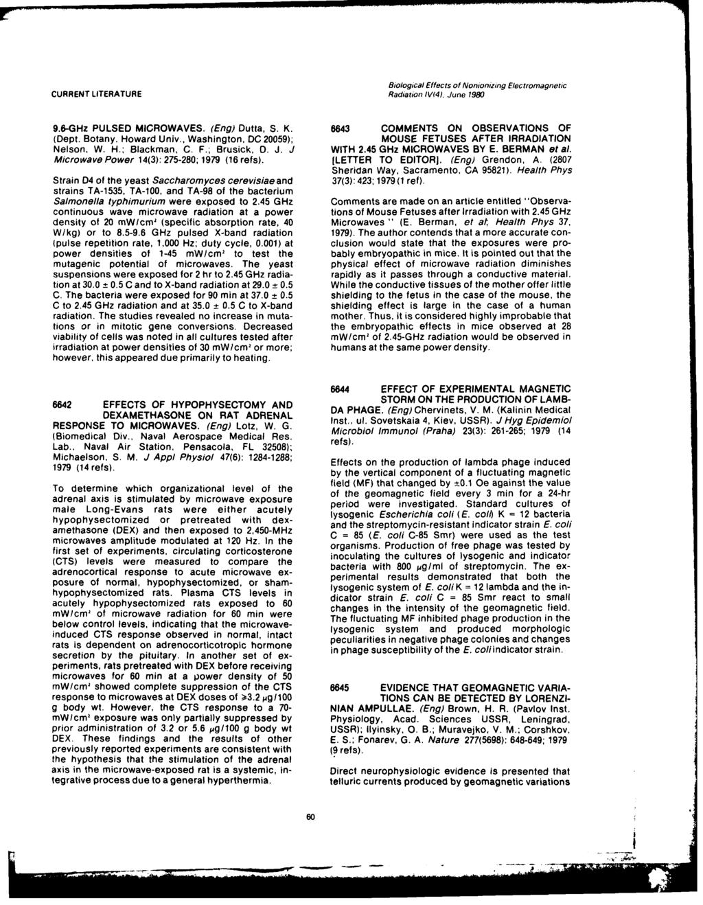 Unclassif71ed 80bc5003 Oi Vol 44n Pdf 20059 Hopkins Wiring Diagram Biological Effects Of Nonjonizing Electromagnetic Current Literature Radiation Ivm4 June 1980 96 Ghz