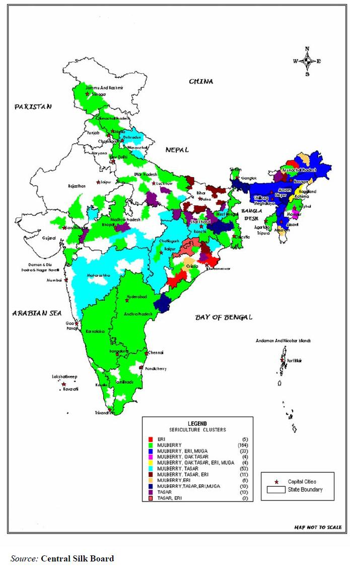 93 Map 4.II.: Silk Producing States of India In India with a contribution of nearly 13.