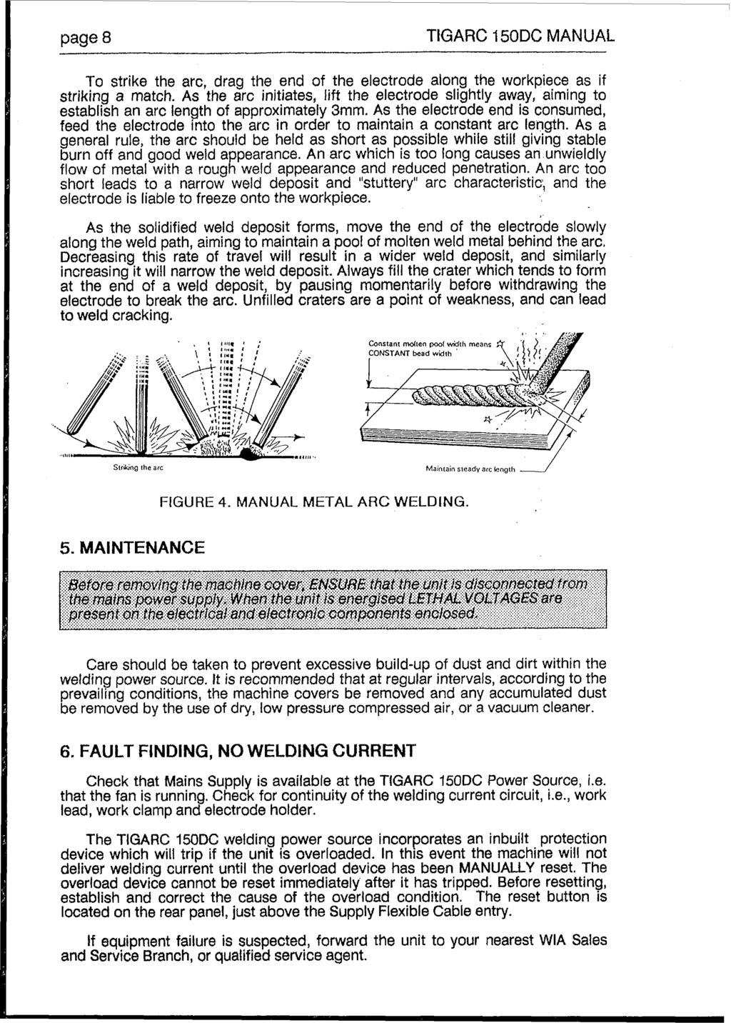 Model No Mc86 2 Rev C Pdf Mig Welding Machine Diagram Together With Of Fillet Weld Root Page 8 Tigarc F50dc Manual To Strike Thearcdragthe End The Electrode Along