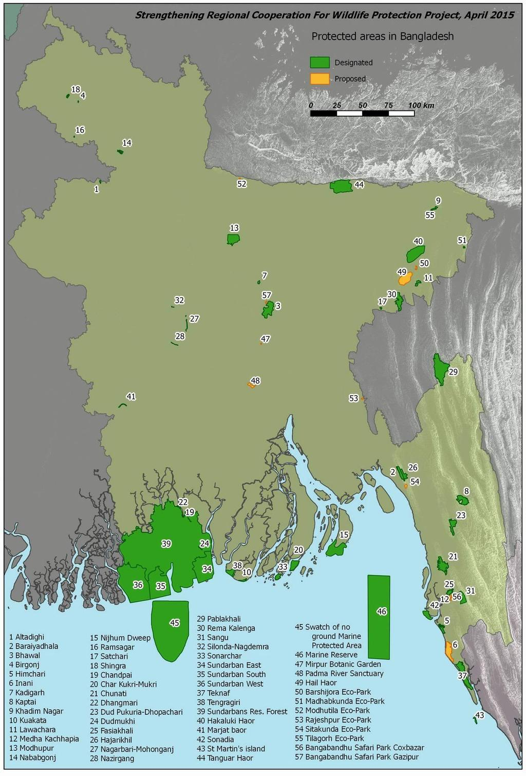 Note: Further discussion on issues related to wildlife management can be found in Chapter 10. Map 1-4: Protected Areas in Bangladesh.