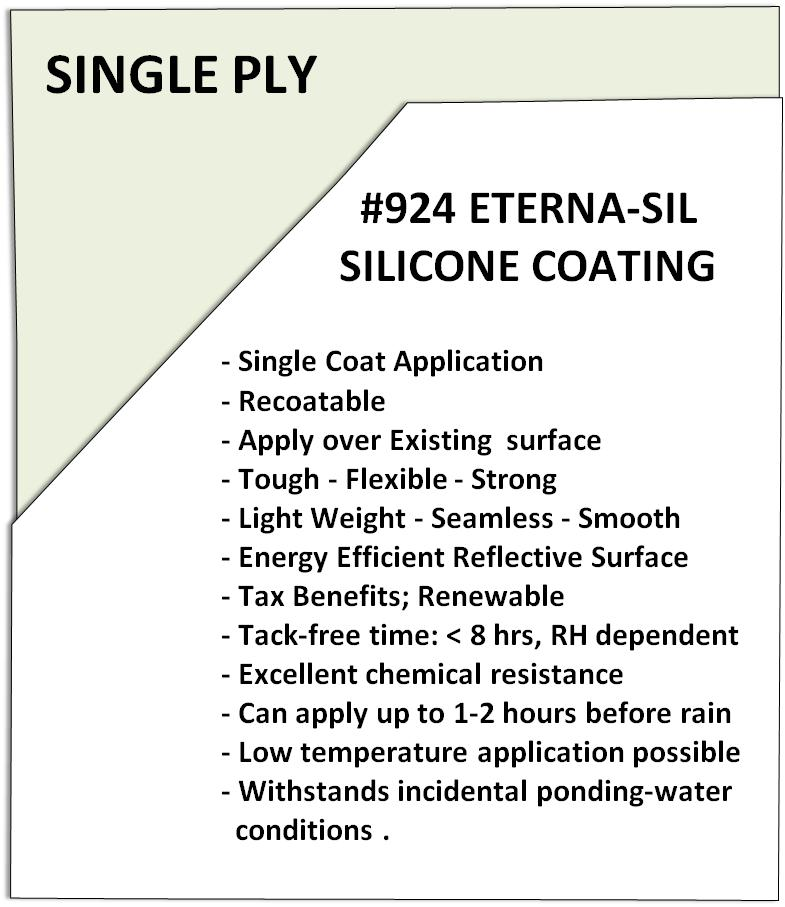 Section Fluid Applied Coating #924 Eterna-Sil Silicone Roof