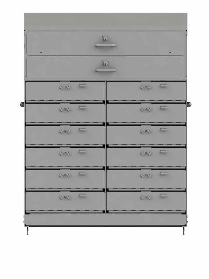 cabinet to the floor 8010137 Standard full piano hinge secure all tills (10) till drawers lock with single padlock (Padlock