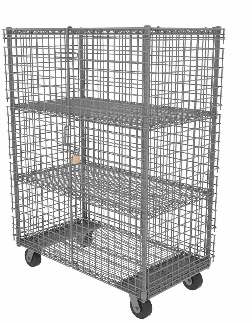 MOBILE SECURITY CAGES This cart allows you to sort and transport a wide range of products, all while keeping them secured and locked up