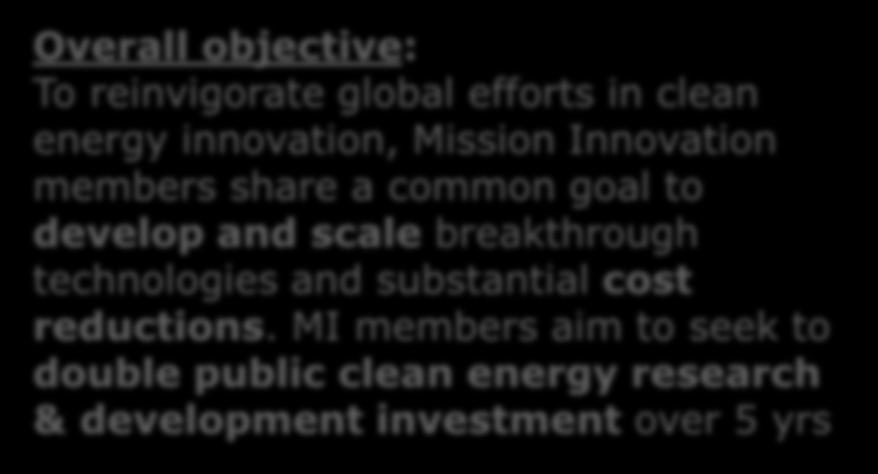 Mission Innovation Overall objective: To reinvigorate global efforts in clean energy innovation, Mission