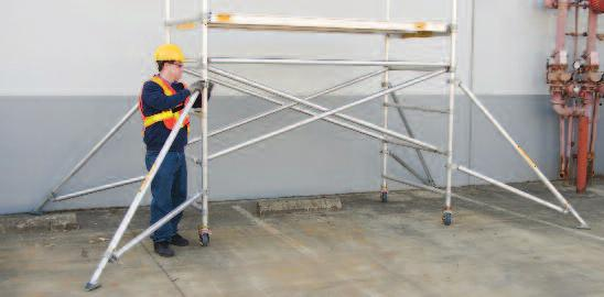 Before climbing any scaffold, always lock all four (4) caster brakes. Never roll the scaffold when anyone is on it.
