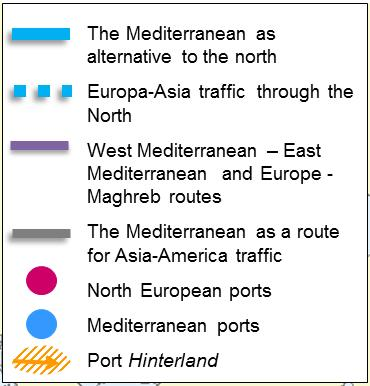 *Drewry Maritime Research 2017 (2016 Data) Advantages of Mediterranean ports: Reduction of navigation days, CO 2 &NOx